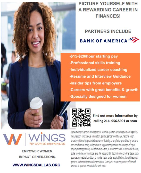 test Twitter Media - READY FOR A REWARDING CAREER IN FINANCES! WiNGS is partnering with Bank of America & others to offer members a career opportunity starting at $15-20/hour. Our Career Pathway Program also offers multiple career development services! For info, call 214-956-5901 **Open to women only https://t.co/TOTVtRQ1F4