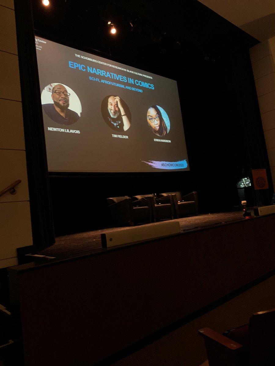 @Dieselfunkstu @DreamFuryComics doing #EpicNarrativesInComics i.e. AfroFuturism I.e. Negroes in Spaceships Panel. #SchomCom2020 #AfroNerdRadio #BlackComicConFestpic.twitter.com/YaqQH0zOn5 – at NYPL - Schomburg Center for Research in Black Culture