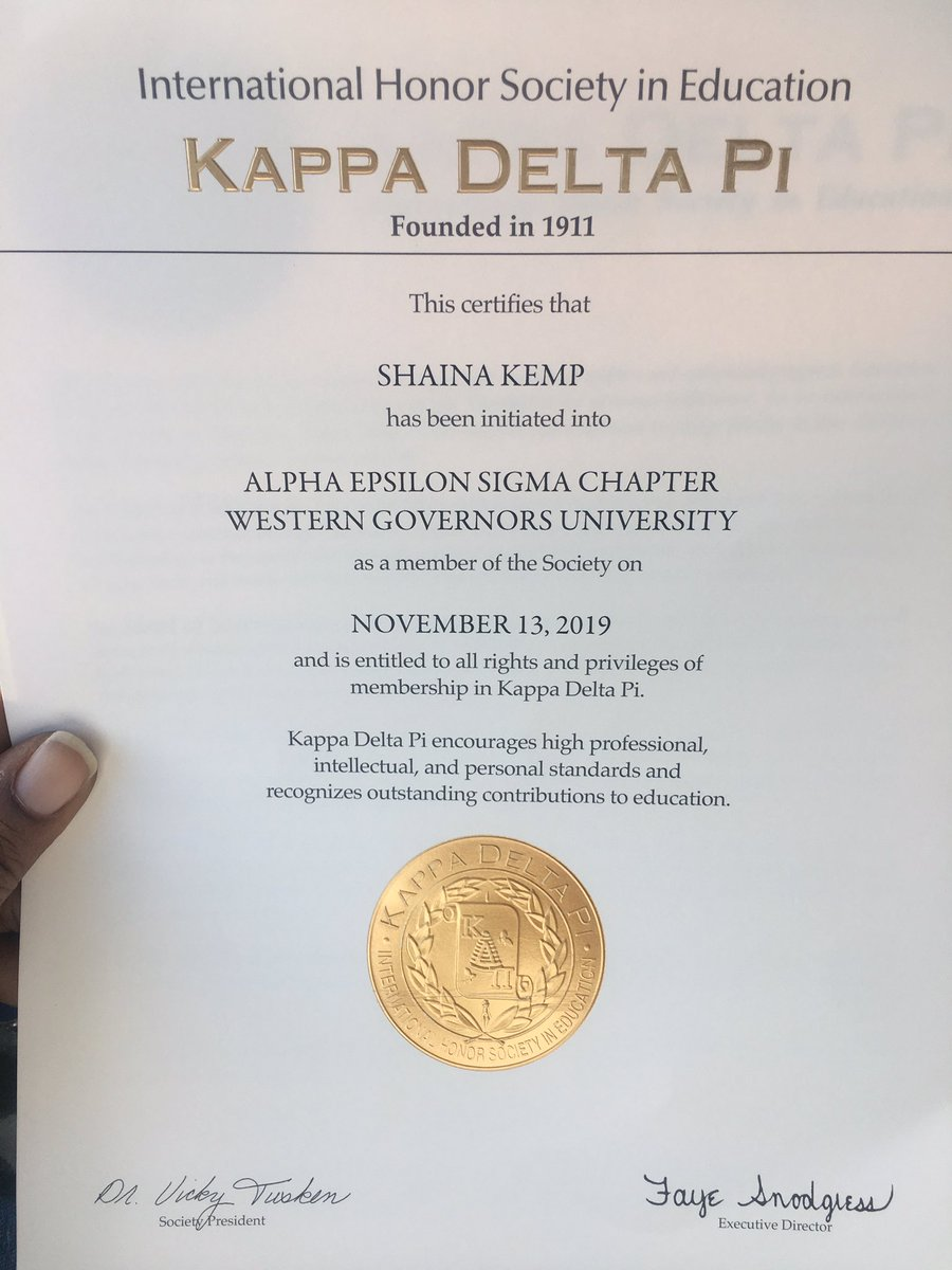 Certificate finally came in the mail! First professional development organization under my belt before I even finish school. Can't wait to keep adding to my resume! #wgu #kdp #kappadeltapi pic.twitter.com/tDJW5s7QIu
