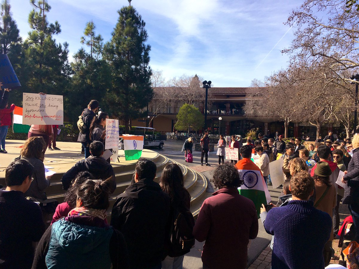 Good show of solidarity at the @Stanford University Campus in solidarity with JNU, and against police brutality on India campuses, the CAA, and the NRC. #JNUattack #CAA_NRC_Protest #standwithJNU