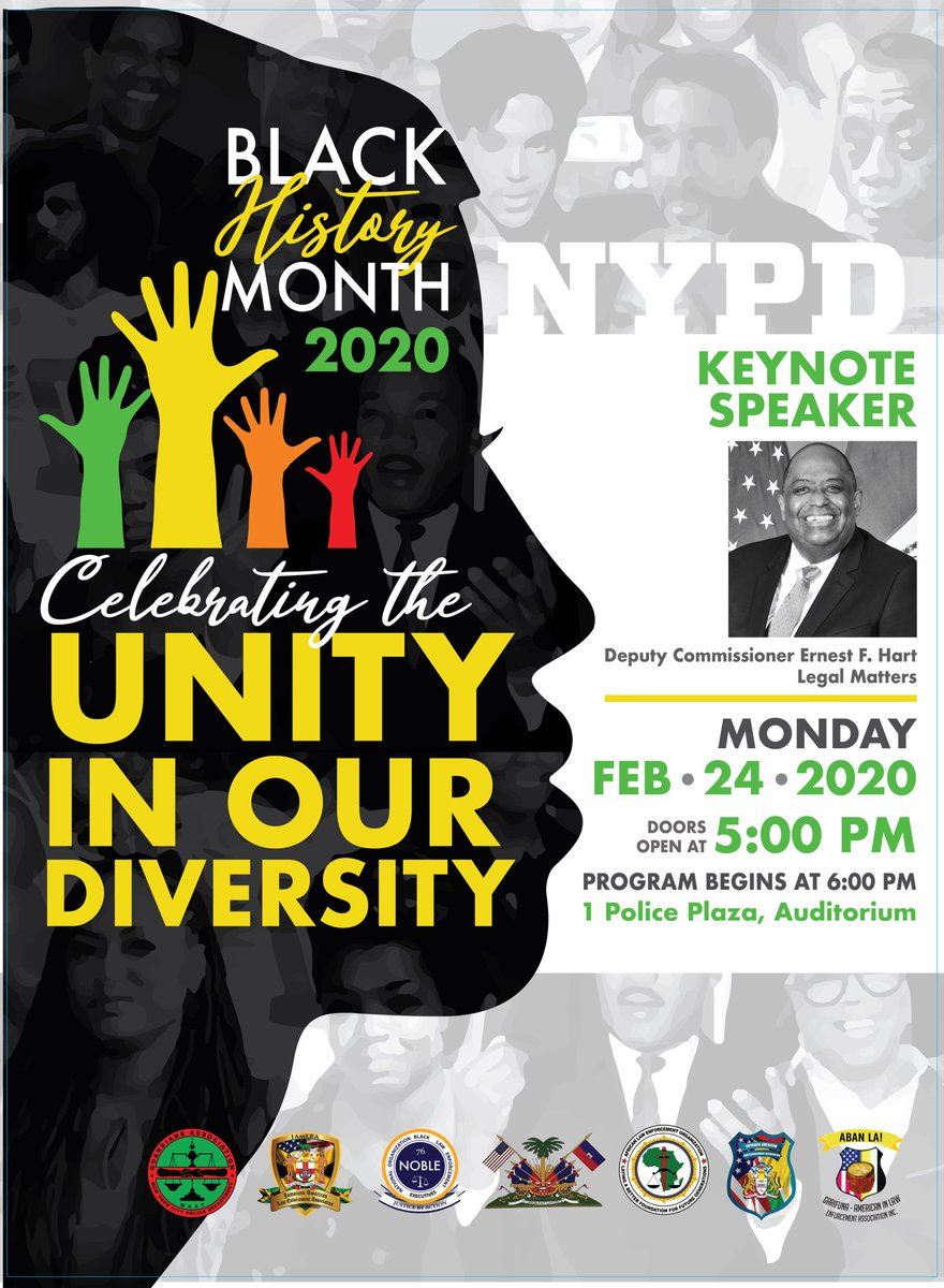 We cordially invite you to celebrate our diversity #blackhistory #NYPD , Monday February 24, 2020pic.twitter.com/1jWzwAItmb
