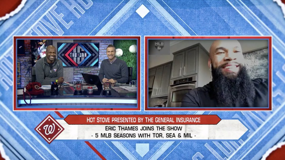 .@EricThames is excited for his first year with the World Series champion @Nationals! #MLBNHotStove