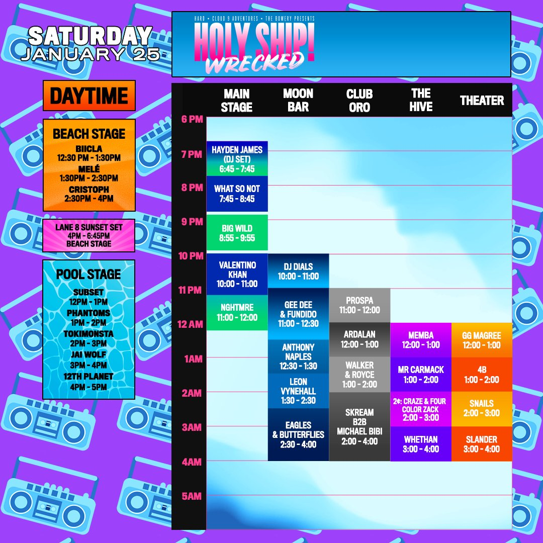 Holy Ship schedule for Friday