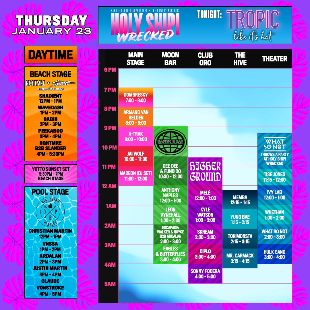 Holy Ship schedule for Thursday