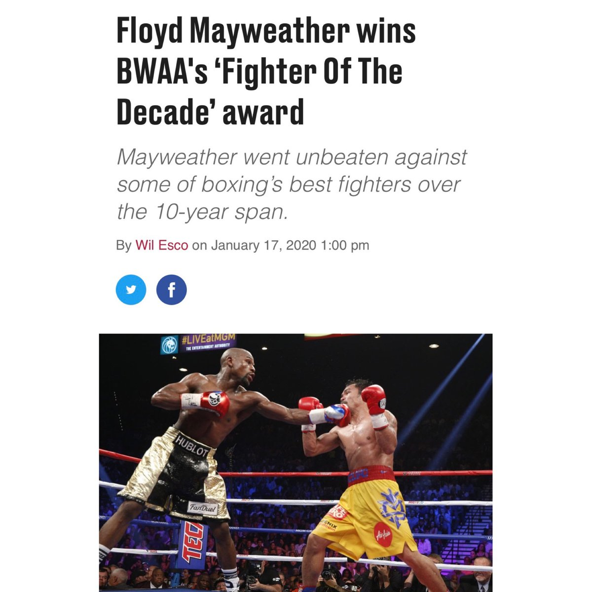 "I would like to say ""Thank you"" to all the writers who voted for me! #TMT #TBE #mayweatherpromotions"