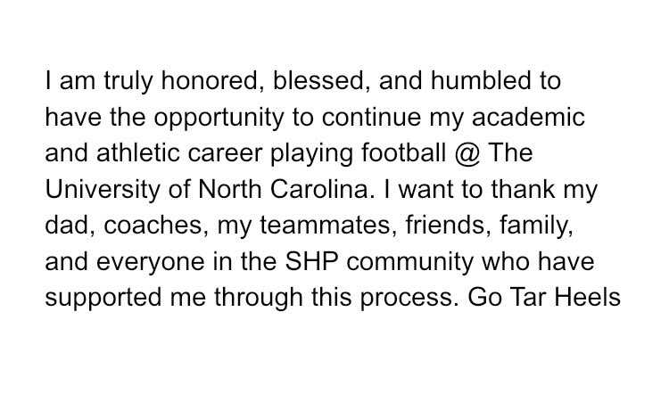 Committed!! @UNC