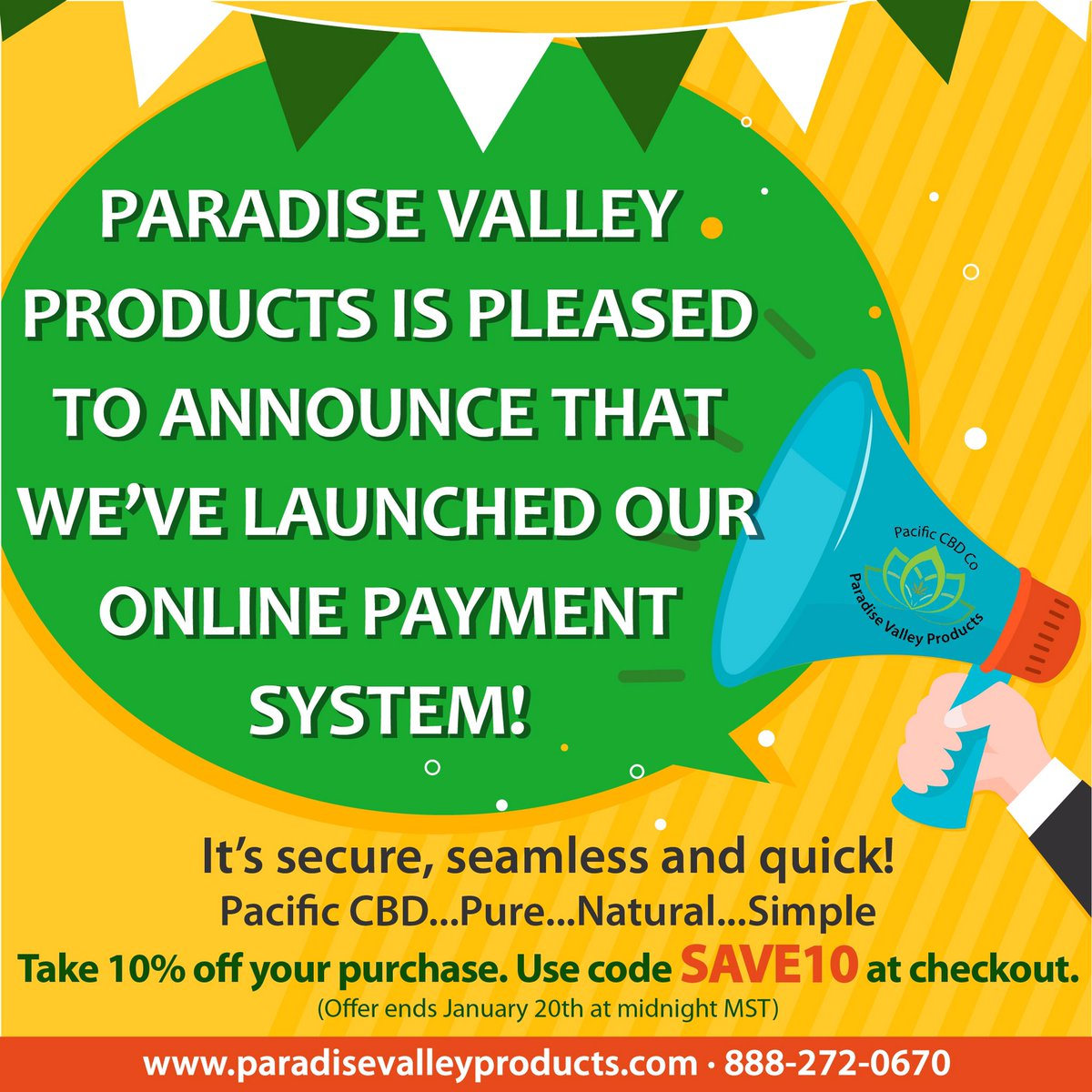 We're pleased to announce our new secure & seamless online payment system for your favorite Pacific CBD products. Take 10% off your purchase now with code SAVE10 at checkout. #freeshipping Shop http://www.paradisevalleyproducts.com   #pacificcbd #cbd #cbdoil #cbdhealth #cbdproducts #cbdonlinepic.twitter.com/ePIn4K5DAq