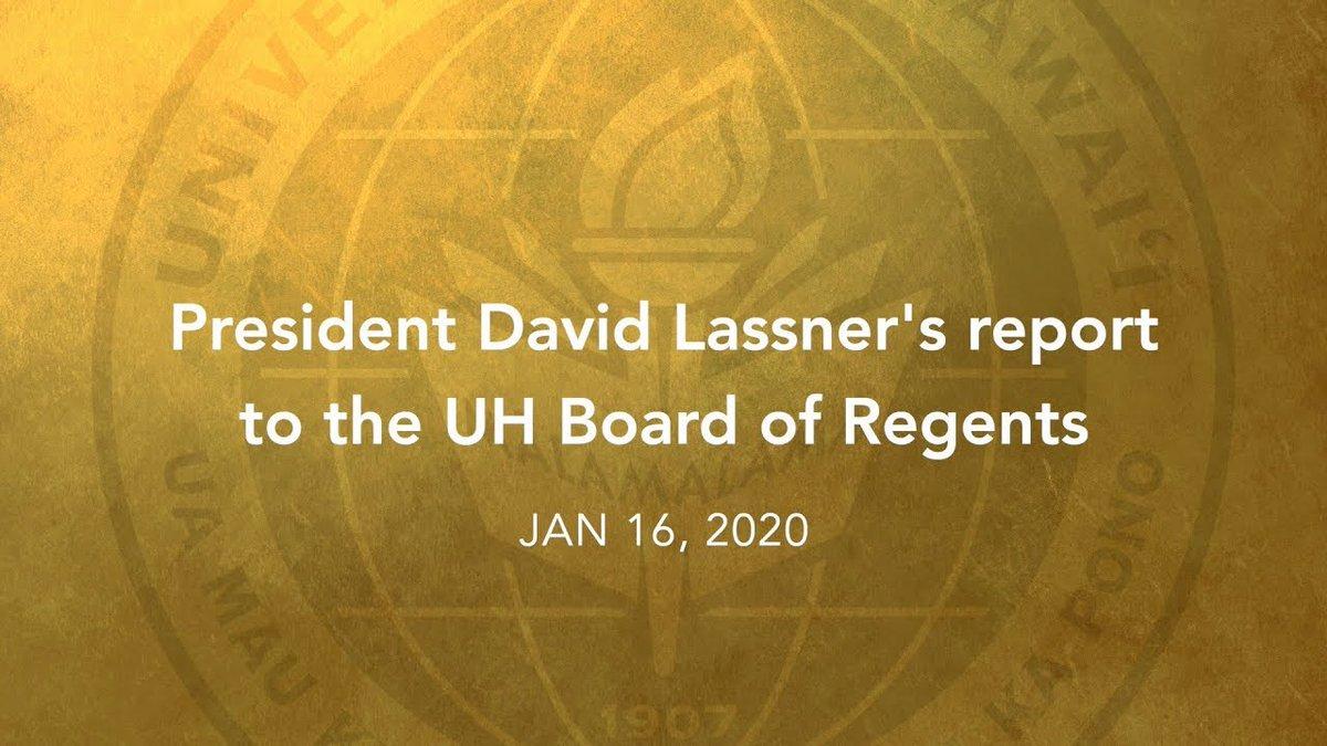 Image for the Tweet beginning: 🗣️ #UHohana President David Lassner