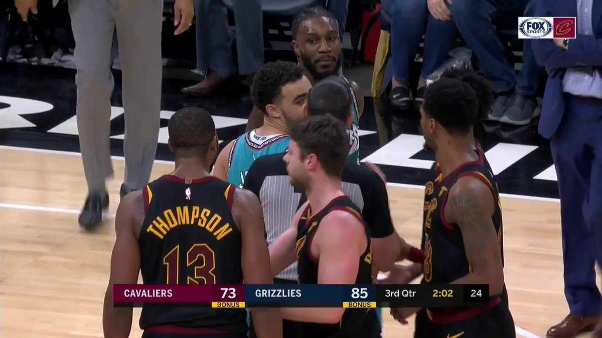 Tristan Thompson has been ejected from the game in Memphis.