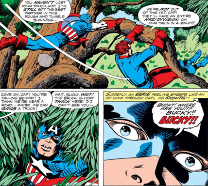 Captain America is sent hurtling through time in order to learn about the American spirit!  All part of Jack Kirby's Marvel Treasury Edition. http://peerlesspower.blogspot.com/2016/07/the-man-and-nation.html … #jackkirby #captainamerica #marvelcomics #comicbookspic.twitter.com/st9w4sXCb6
