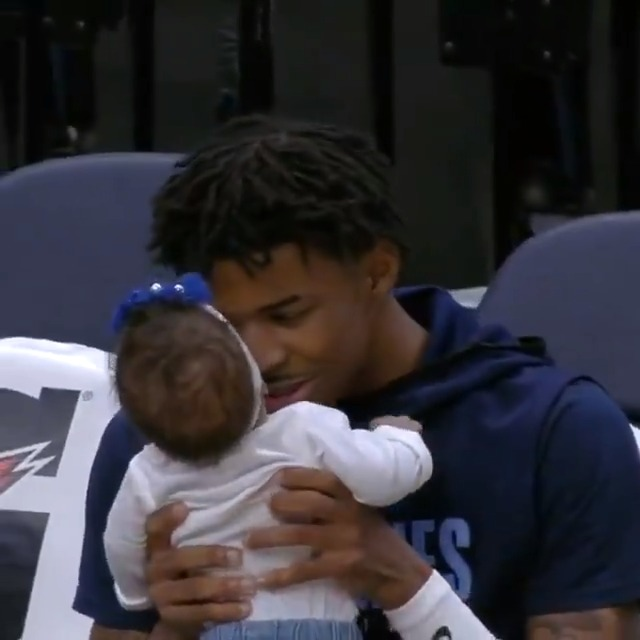 Ja Morant enjoys time with his daughter pregame in Memphis ♥️  The @memgrizz seek their 7th straight win tonight at 8pm/et vs. Cleveland on NBA League Pass.  🎶: @unitedmasters