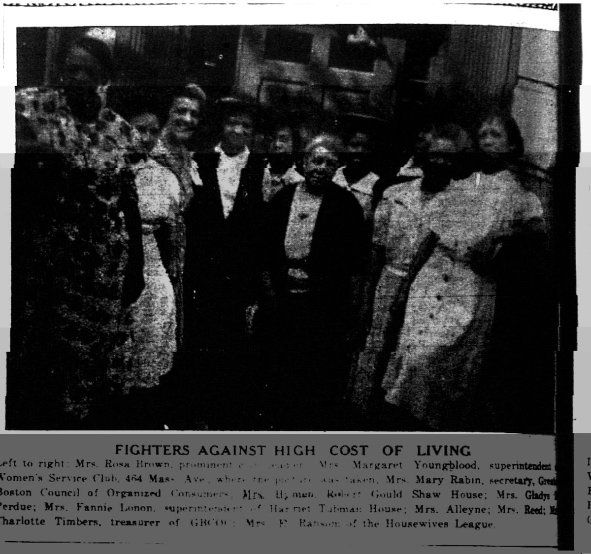 OMG OMG OMG  This is so amazing. That is Rosa Brown on the far left.  Anyone able to help us with the lighting in this? Its from the Boston Chronicle in 1943. #BlackBostonians #BlackHistory #Suffragists @WBStilwellpic.twitter.com/P5ppbC0DtS