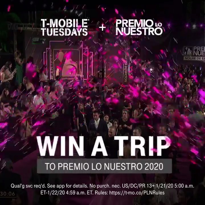 This Tuesday, get ready to walk the magenta carpet 📸 Enter for a chance to win a trip to Miami and celebrate the best of Latin music at @PremioLoNuestro, courtesy of #TMobileTuesdays. All you have to do is RT ☀️ 📲 t-mo.co/PLNsweeps