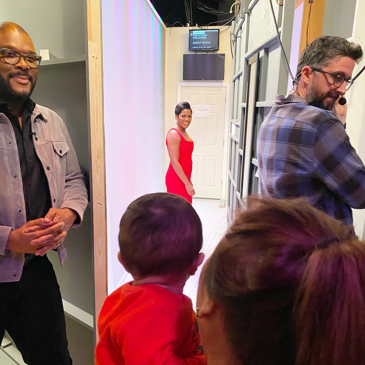 "Minutes before walking out the ""TH"". A moment I will never forget. Baby Moses @tylerperry 💜. Tonight think about one thing ""they"" say you can't do...Now smile and do it.@tamronhallshow always know I am rooting for you too. #faith #focus it's your dream not their dream. Blessed"
