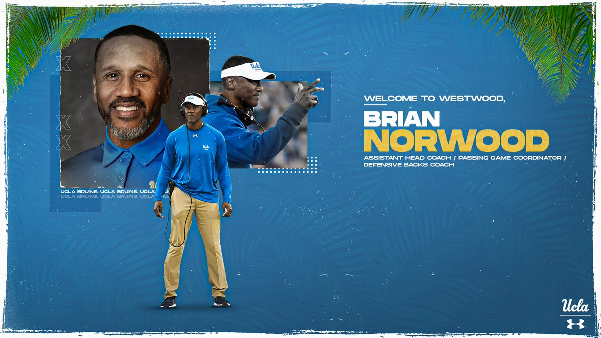 Thrilled to welcome @brian_ohana5 to UCLA!  Coach Norwood brings 30 years of coaching experience to our staff.  https://ucla.in/2FYZv4J  #GoBruins