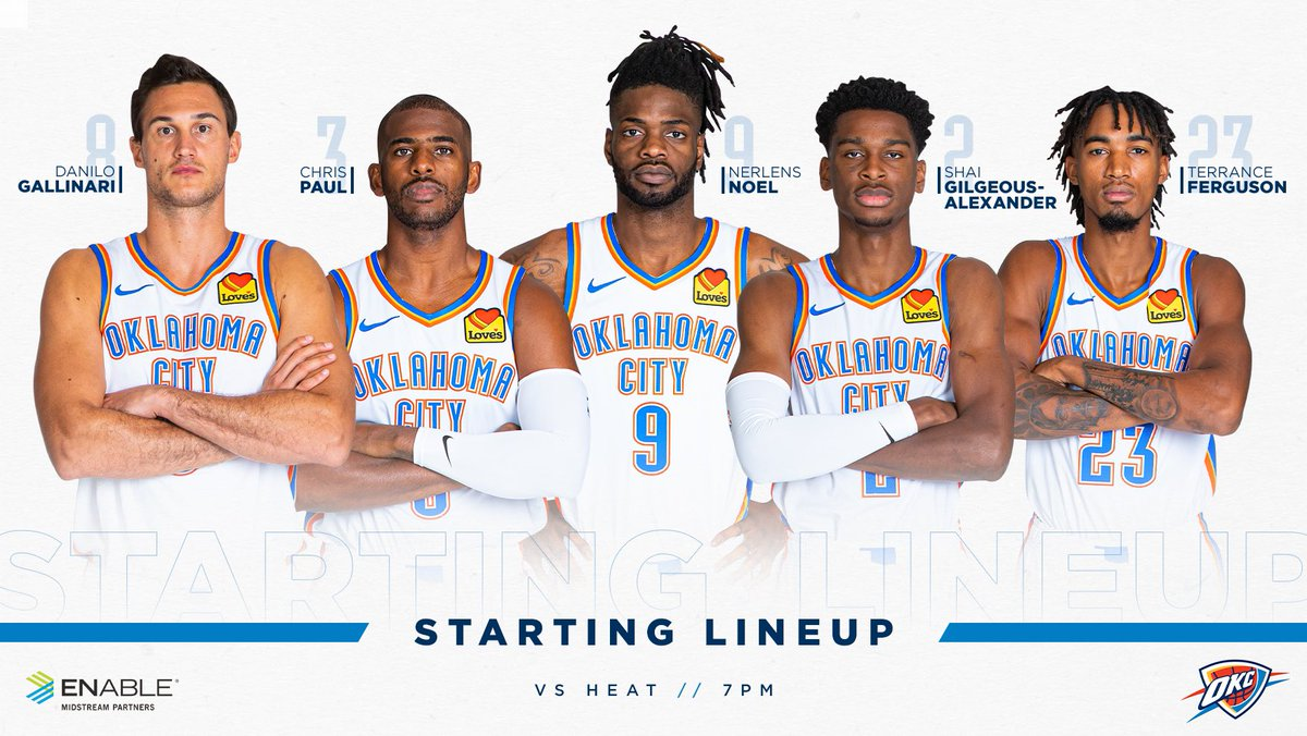 Starting five vs Miami.   Presented by @EnableMidstream – at Chesapeake Energy Arena