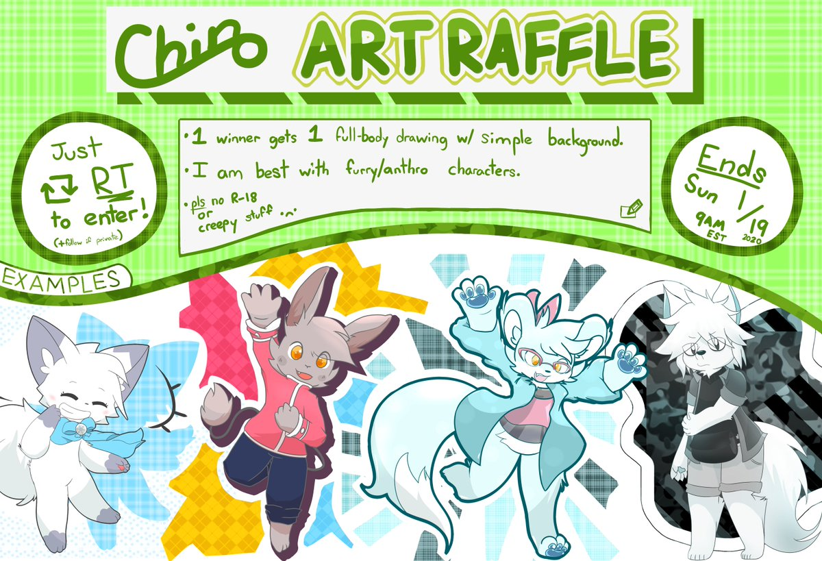 Before school gets out, I'm gonna do a small furry/anthro art raffle! Ends in approximately 36 hours! <br>http://pic.twitter.com/McbCXuUALl