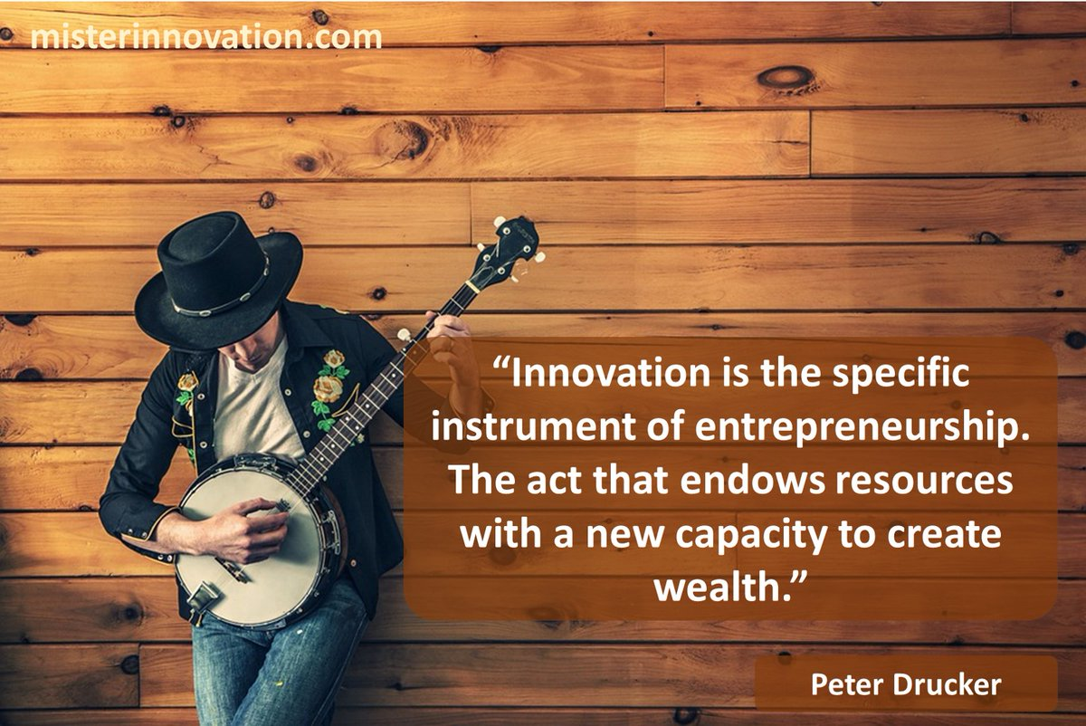 """""""Innovation is the specific instrument of entrepreneurship. The act that endows resources with a new capacity to create wealth."""" - Peter Drucker - #innovation #entrepreneurship #tools #wealth #money #leadership #strategy #success #quotes -- More posters at http://misterinnovation.compic.twitter.com/7ogEAqm0DZ"""