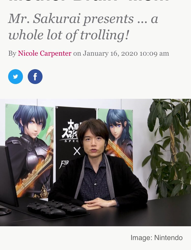 It sucks because Sakurai was really happy to put in Blyeth and then he gets harassed and clowned pic.twitter.com/n2AZKWPNWj