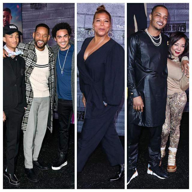 Family affair! #WillSmith brought his sons - #JadenSmith & #TreySmith - to the Hollywood premiere of #BadBoysForLive (which is in theaters now). #QueenLatifah, #TI, #TinyHarris and tons were also in attendance. See the carpet flicks when you hit the link… https://ift.tt/2ufgWLBpic.twitter.com/d8ELJw5zTC