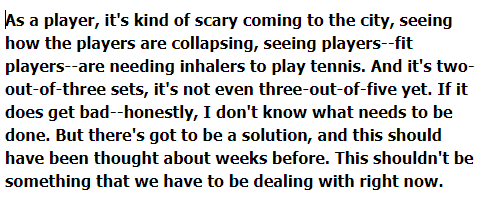 Last thoughts from Shapovalov, who suggested that venue changes should have been considered, and that playing best-of-three would be an obvious solution. #AusOpen