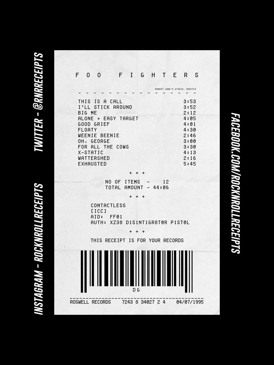 The 182nd proof of purchase for your awesome taste in music is the Rock N Roll Receipt for the eponymous debut album by Foo Fighters 🎵 #rocknrollreceipts #foofighters #davegrohl #nirvana #grunge #rock #thisisacall #music #art
