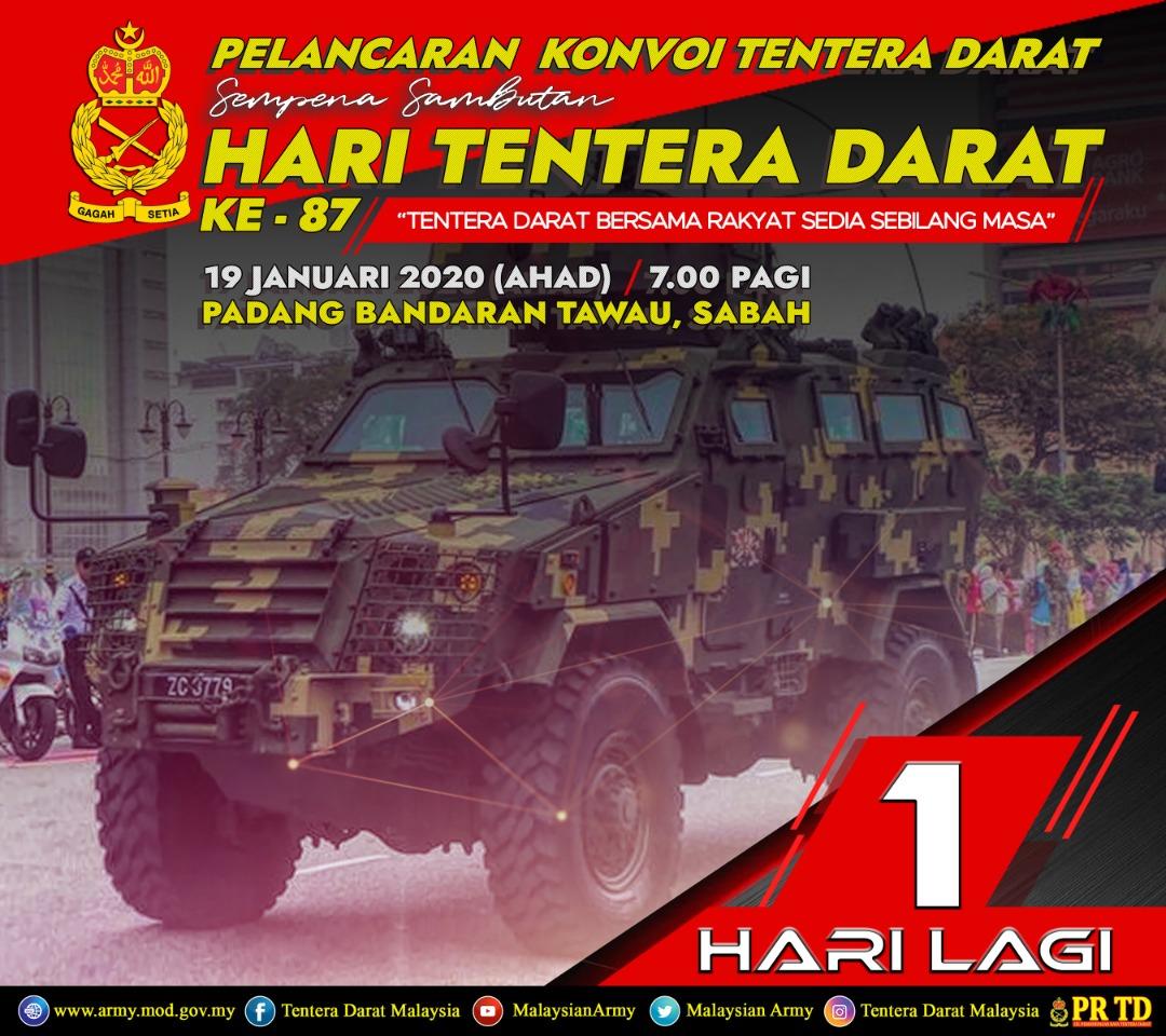 RT @TenteraDarat: SATU HARI LAGI!!!...  Kemeriahan Kian Terasa!..  Saksikan Pelancaran Konvoi Kumpulan Tempur Tentera Darat buat julung kali diadakan di Sabah! #HariTenteraDaratKe-87 #TAWAU #SABAH  Lokasi : Padang Bandaran Tawau Tarikh : 19 Januari 2020 … https://t.co/TQeOI8tn0r
