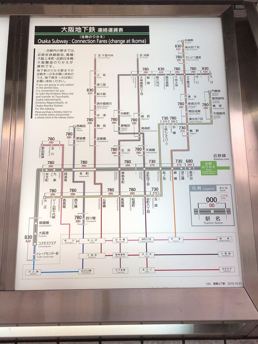 近鉄から大阪地下鉄連絡運賃表 #近鉄  #OsakaMetro  #運賃表 #大阪地下鉄  #鉄道風景