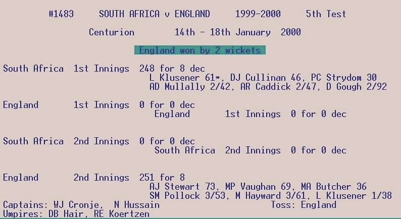 Today in the year 2000... This happened in Test cricket for the first and only time.. No play (rain) on 15, 16, 17 January 2000. <br>http://pic.twitter.com/d6lpVgw4FA