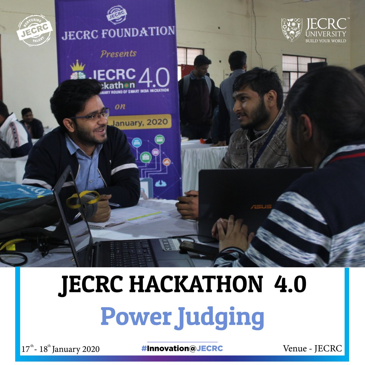 In the final attempt to bag the position of #winner at #JECRCHackathon 4.0, participants put their best foot forward in the final power judgment round. Judges went through each team's unique virtue and graded them on all parameters of working and usability #SIH2020 #i4c #AICTEpic.twitter.com/3uFB1ijflD