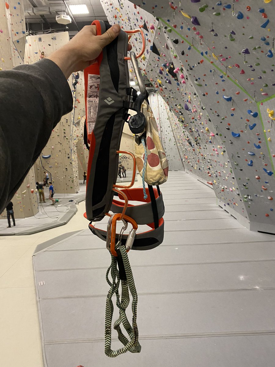 This harness has my very first chalk bag on it. I never liked it much, but like all broke climbers, you use the gear you have. #FormerLife #Climbing