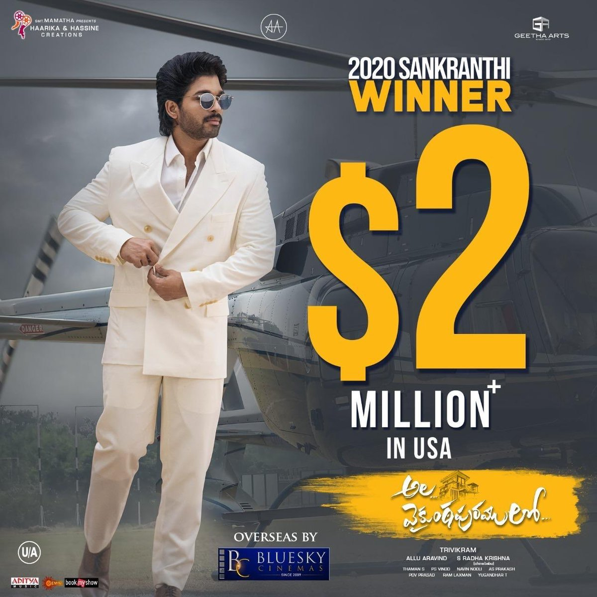 #AlaVaikunthapurramuloo had a Good Friday and all set to have a great weekend in USA . Pre sales for Saturday from 10 AM shows onwards looking very good. Expecting the film to touch $2.5M by end of Saturday. <br>http://pic.twitter.com/zZv0oE68bV