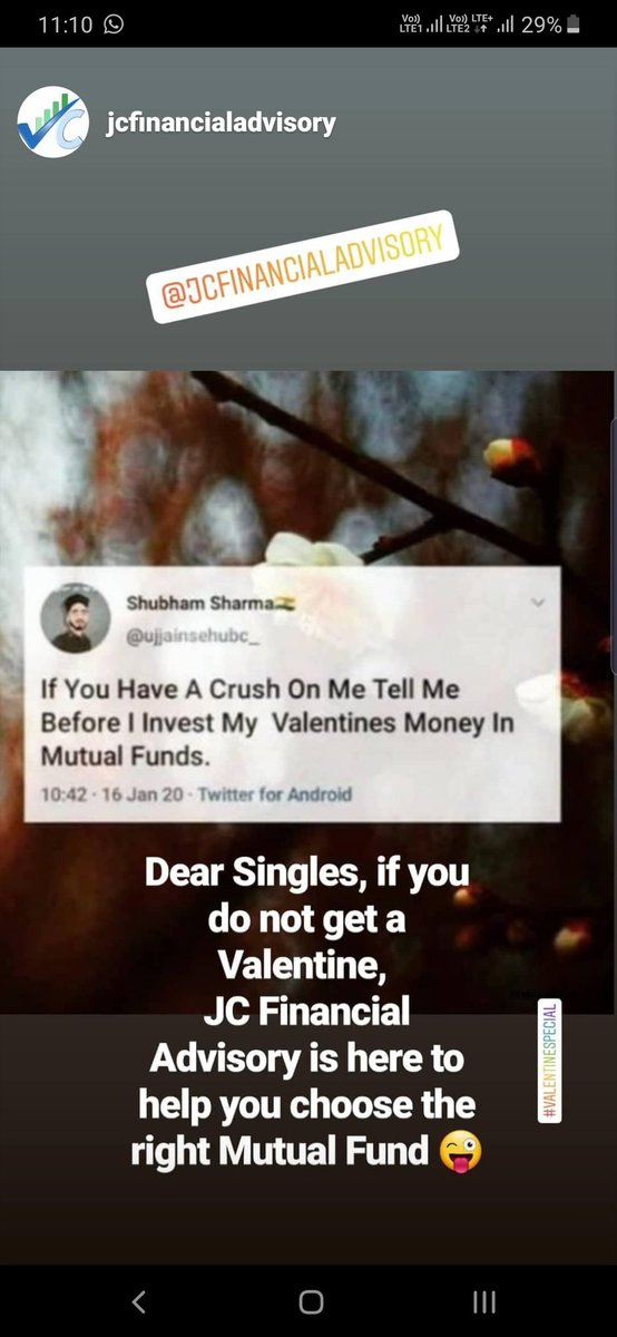 Dear Singles, if you do not get a Valentine, JC Financial Advisory is here to help you choose the right Mutual Fund #ValentinesDay #valentinesday2020 #mutualfunds #investment #savings #wealthcreation #nifty #sensexpic.twitter.com/oJRxtcFxeW