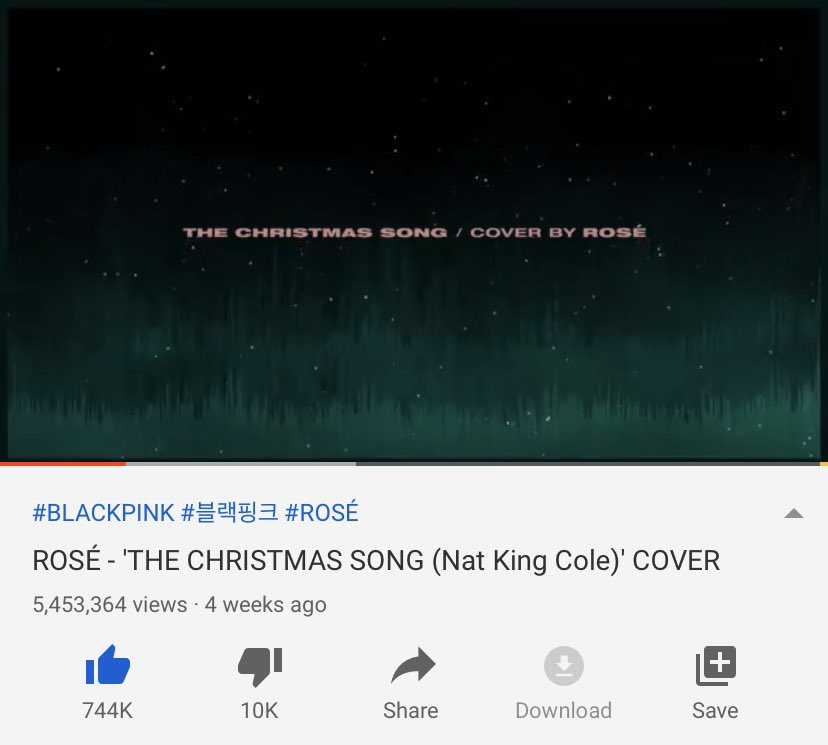Rosé 'The Christmas Song' Cover now has 5,453,364 views and 744K likes on YouTube   https:// youtu.be/6Nm9GOAmZgk      #BLACKPINK #ROSÉ @ygofficialblink<br>http://pic.twitter.com/k7sopl9KI6