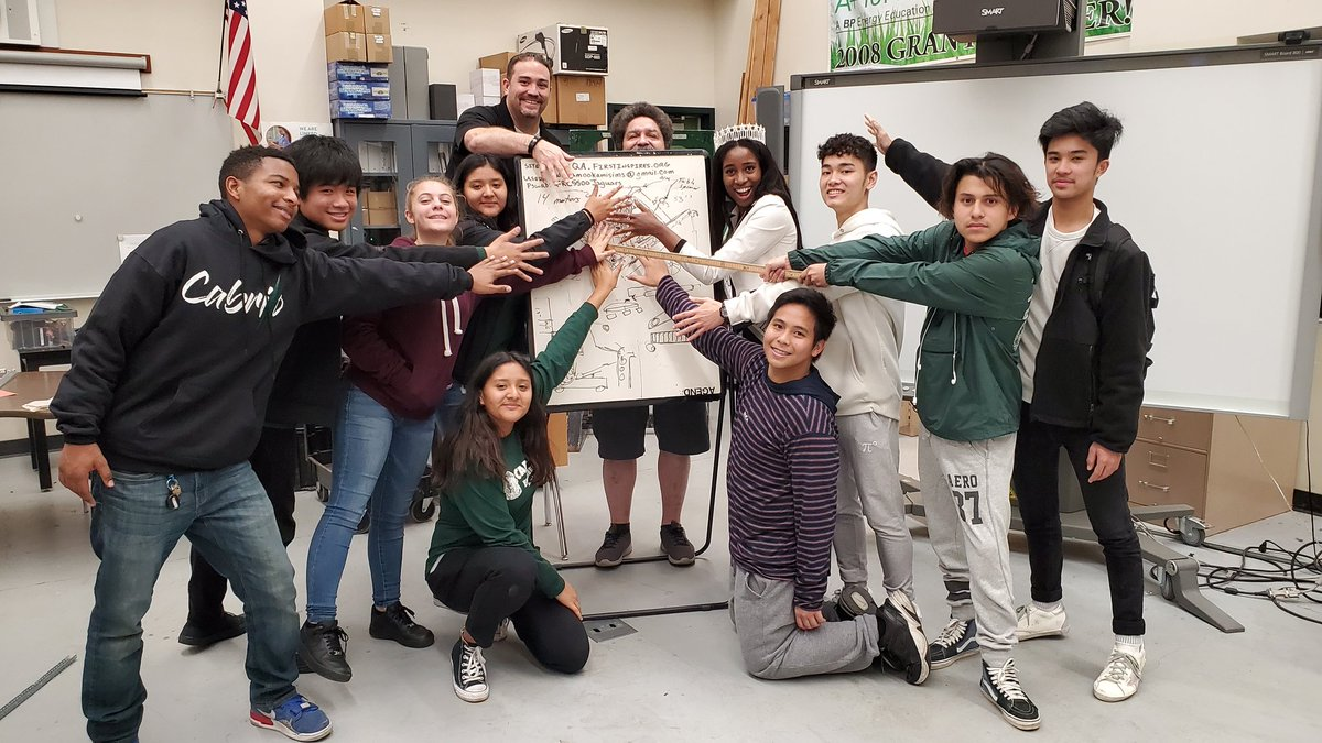 Cabrillo FIRST robotics team happy about their design, but don't look. Great job team. Thank you Nkechi Okorie for your guidance.  #ced #jaguarpride #successinthewest #cedjags