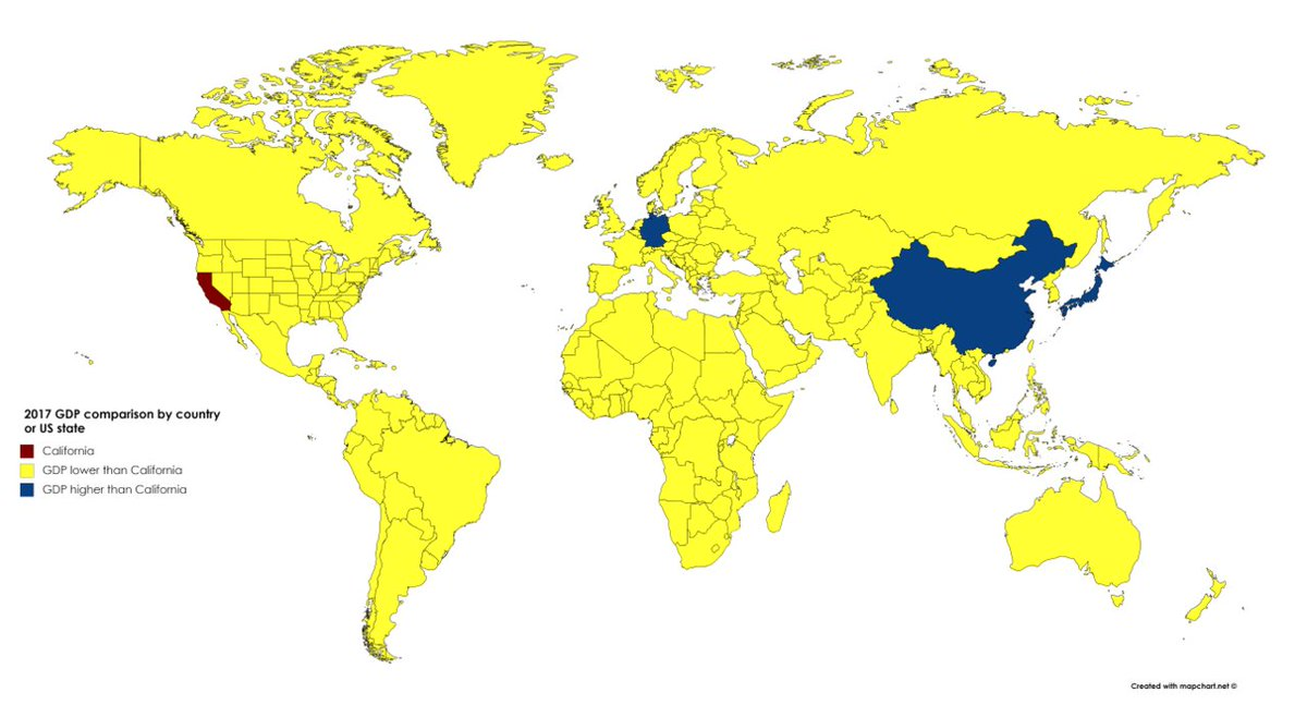 Yellow: Countries with GDP lower than California <br>http://pic.twitter.com/Ghprxmxac0