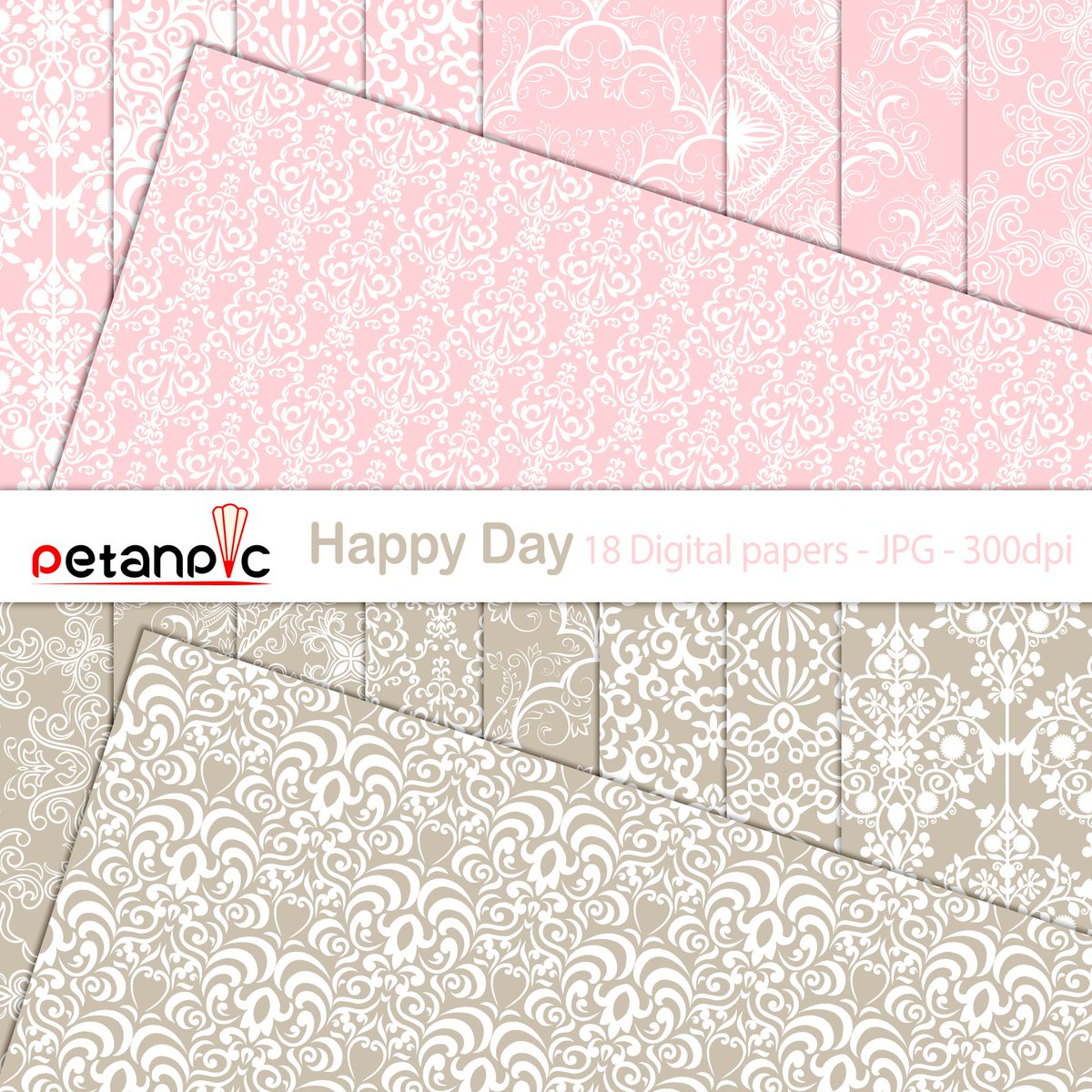 """This Happy Day Set includes 3 ZIP files high-quality Pink and Brown (Gold) digital papers: ~ 18 Digital Papers - JPG format - high resolution - 300 dpi - size is 12""""x12""""(3600px x 3600px) ~ All elements are high-quality files, suitable for print or digital projects."""