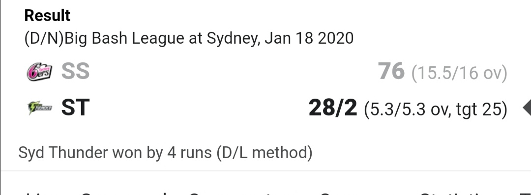 Games like this don't help me when trying to explain cricket to my Eastern European friends. Still glad for some rain  #BBL2019 #BBL09 https://t.co/XFod6zNzrB