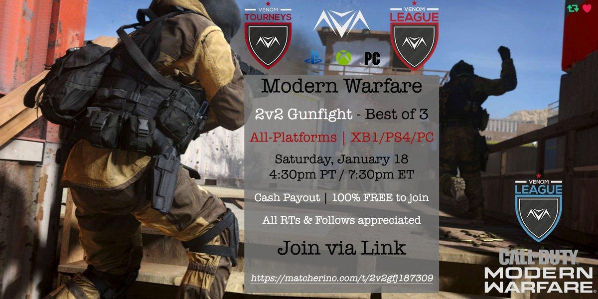 "$40+Prize 2v2 Gunfight - 4:30pm PT / 7:30pm ET - Jan. 18  Click http://bit.ly/ContributeHEREJan18…  Complete 3 Free Quests to add $0.60  Code adds $0.50: ""2v2gfj187309""  Last Step, Join Battlefy http://bit.ly/2v2GFJan18CashPrize…  #CASHPrize #FreeTourney #CrossPlay #ModernWarfare #vnmNEWSpic.twitter.com/5FlK9JOs1J"