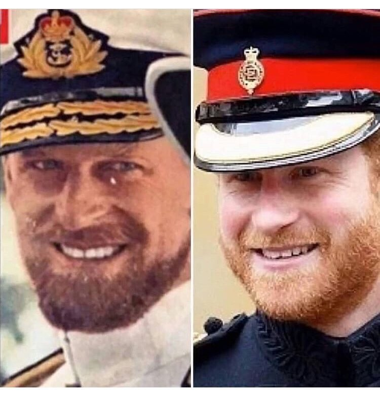 He looks like Prince Phillip (on the left) when he was young except w ginger hair, which he gets from Diana's side. pic.twitter.com/47dv6TGTtF