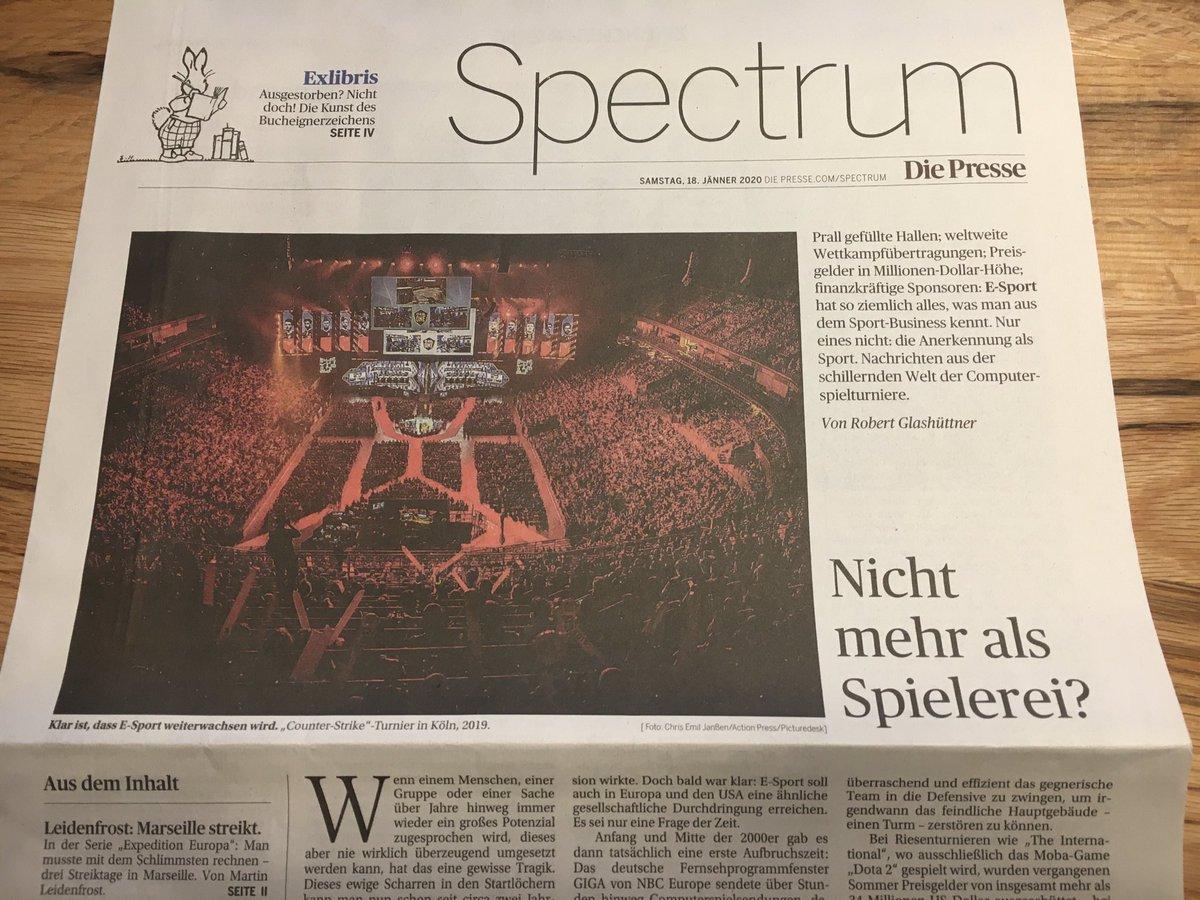 Ich habe fürs Spectrum der heutigen @DiePressecom einen längeren Artikel über das Wesen und den Status Quo von E-Sport geschrieben. pic.twitter.com/sBR1BE0Ctt