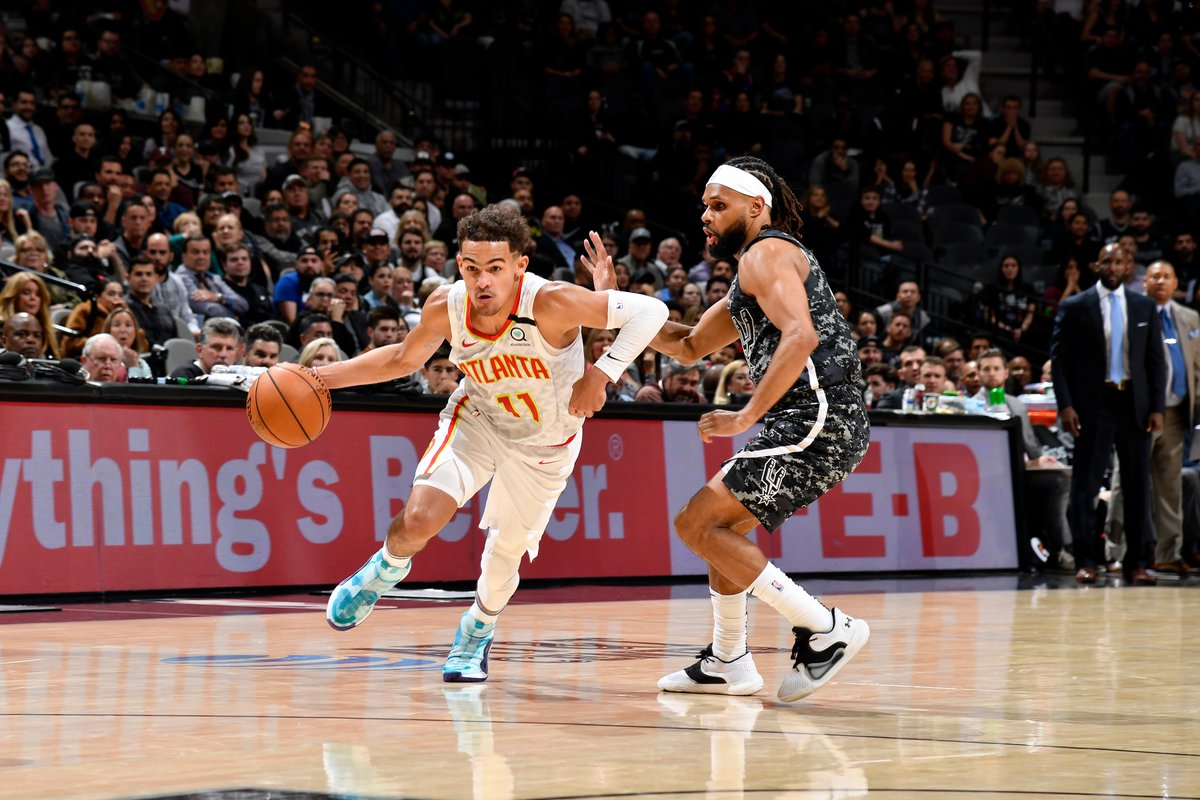 """""""I always have faith until the clock says zero."""" - Trae Young  Trae had 31 pts (10-16 FG) 9 AST, 5 REB in a 14-PT comeback win vs the Spurs!   Young & 5 other Hawks weren't even born the last time the Hawks won in San Antonio (02.15.97)."""