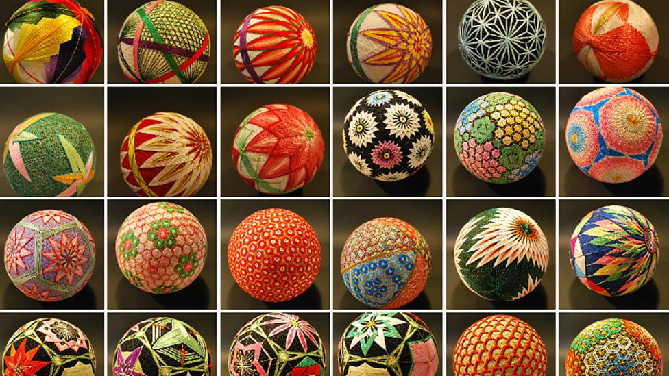 Japanese artist Nana Akua photographed her grandmother's embroidery - a folk artform known as Temari, meaning 'hand ball' and given as special gifts #womensart <br>http://pic.twitter.com/gPcrUq8H6h