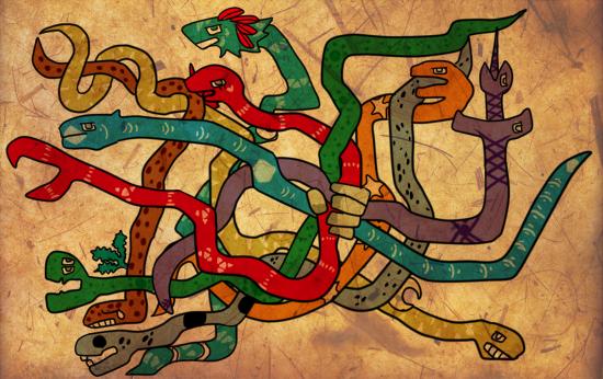 神話ティカ・テトゥ(Tihuka-Textu) ティカ・テトゥ(Tihuka-Textu)は、八匹の大蛇の絡み合う姿の巨大な神である。