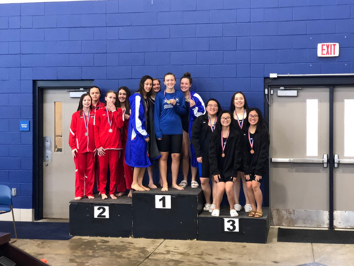MHS girls are the District Champs in the 200 Medley Relay!