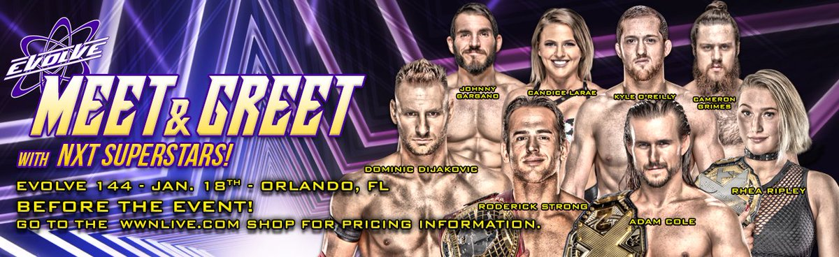 BREAKING NEWS: Tommaso Ciampa has been added to the star-studded NXT Meet & Greet at #EVOLVE144 tonight starting at 6:45 PM in Orlando, FL! @NXTCiampa https://wwnlive.com/product/nxt-champion-tommaso-ciampa-meet-greet-january-18th-orlando-fl-evolve-144/…Tickets & Info: https://wwnlive.com/event/evolve-144-january-18th-orlando-fl/…