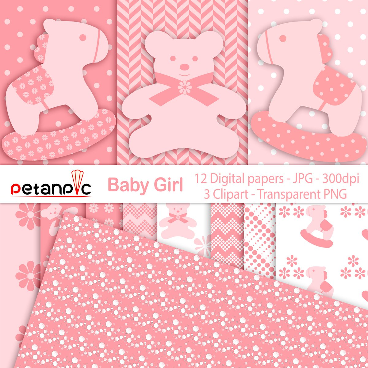 """This Baby Girl Set includes 1 ZIP file high-quality digital clipart containing: ~ 3 clip art = 2 Horses and a Bear clipart in PNG format, high resolution 300 dpi. Each PNG image measures approximately 6""""-7,5"""" (1800px - 2250px) at the widest side ~ 12 Digital Papers - JPG format - high resolution - 300 dpi - size is 12""""x12""""(3600px x 3600px) ~ All clipart are high-quality files, suitable for print or digital project"""