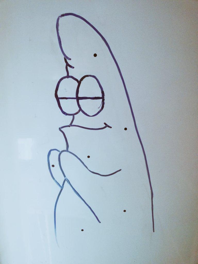 Mi hermana me ha dibujado a Patricio rezando para que apruebe los exámenesRt si también quieres que Patricio rece por ti para que apruebes tus exámenes