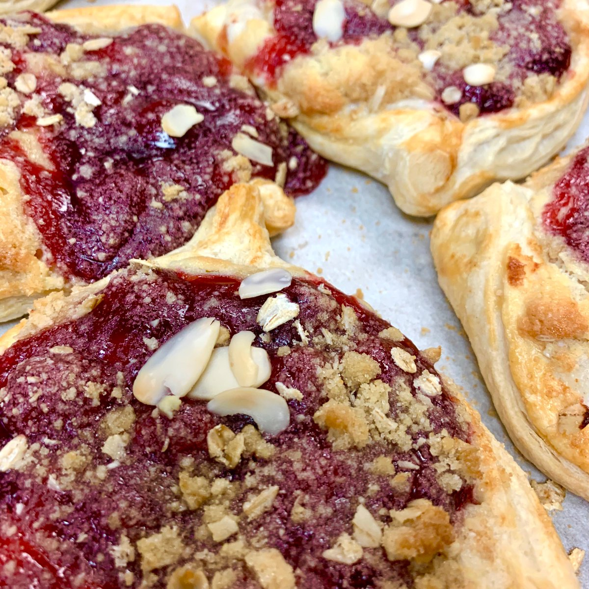 Made a few cherry danish this morning.  Beautiful - cold Saturday.  #danish #cherry #bakery #barre #centralvermont