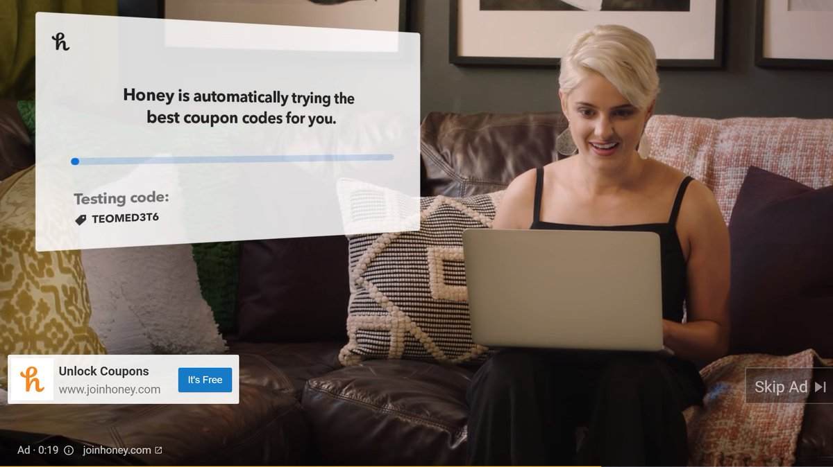 Voucher code browser extension 'Honey', recently bought for $4bn by PayPal, is running ads heavily following Amazon's accusation that it's a security risk. pic.twitter.com/jgSfjHUE24